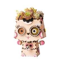 Robud Montagem Gato Bonito Vaso de Flores Crianças Adulto Criativo 3D Models & Construção De Madeira Jogo de Puzzle Toy Kits FT731