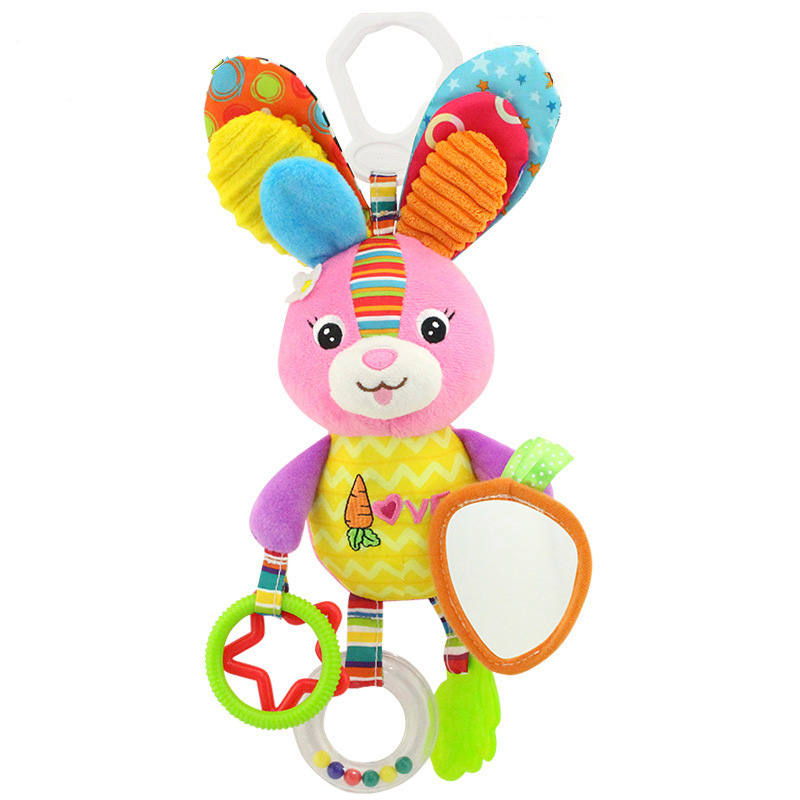 Butterfly/Bird/Rabbit/Duck Teether Handbells baby rattle mobiles animal comforter toy Soothing toy Infant Soft Stroller/Crib/bed