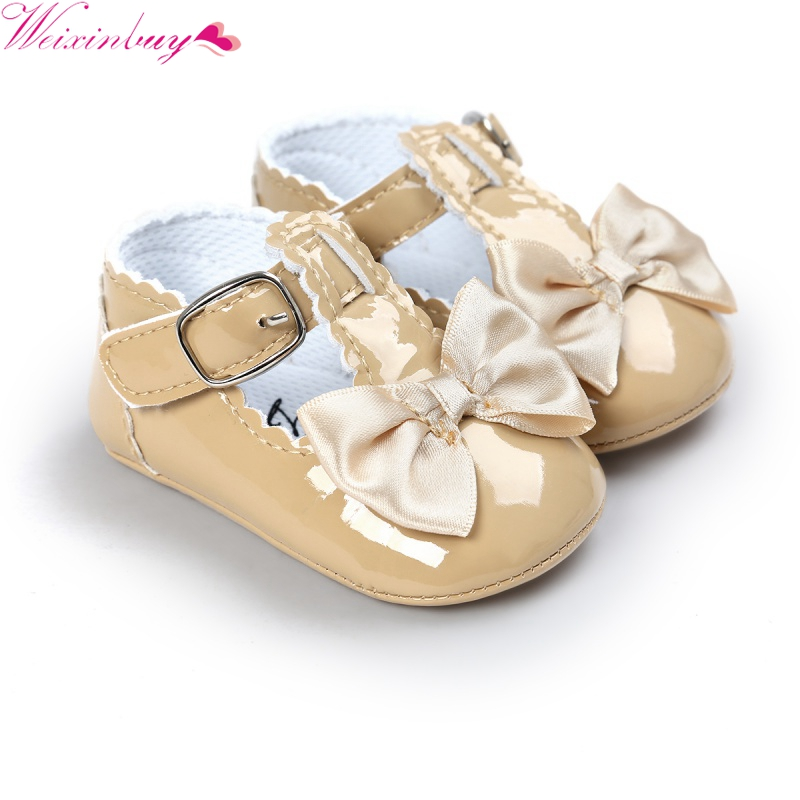 2017 Newborn Baby Girls Shoes Bowtie PU Leather Buckle First Walkers Red Black Pink White Blue