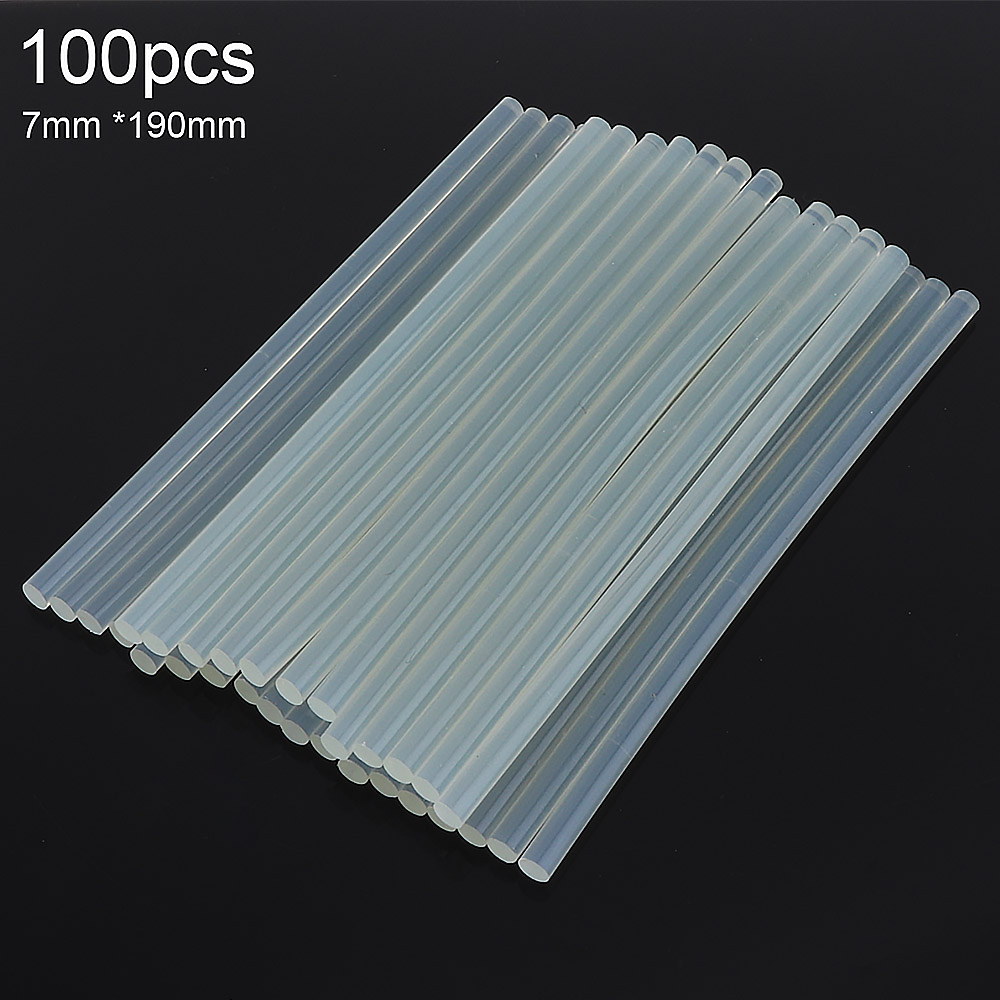 100pcs/set 7mmx190mm Transparent Hot-melt Gun Glue Sticks Gun Adhesive DIY Tools For Hot-melt Glue Gun Repair Alloy Accessories