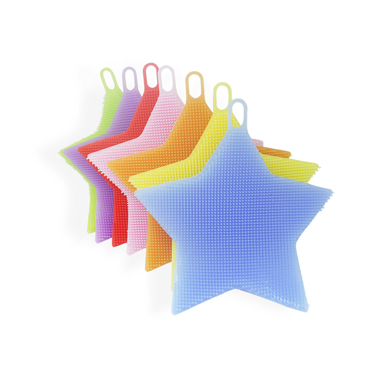 4YANG Creative Household Items Five-pointed Star Dish Washing Fruit Silicone Cleaning Dishwashing Brush Kitchen Wash Tool