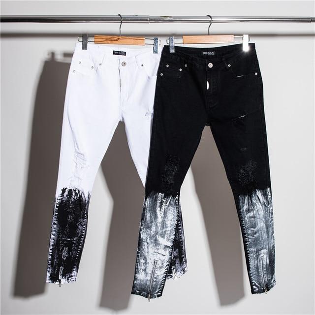 2c808a0a55608 2019 Newest Fashion Tie-Dye Hole Destroyed Mens Slim Denim Straight Biker Skinny  Jeans Men Ripped Jeans