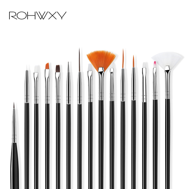ROHWXY 15/12/8pcs Nail Art UV Gel Brush Set Pen UV Gel Nail Art Builder Flat Crystal Painting Drawing Carving Pen Manicure Tool 2