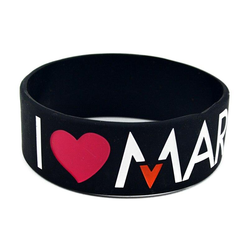 OneBandaHouse 25PCS/Lot 1 Inch Band Bracelet I Love Maroon 5 Silicone Wristband