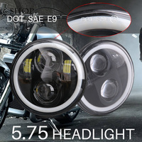 Round Motorcycle headlight 5.75'' led Driving Lights for Harley 883 Iron Sportster 5 3/4 inch Black Projector Daymaker Headlamp