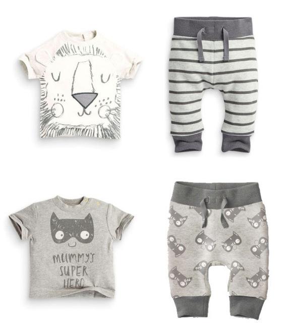 Venta al por menor 2 unids ropa del verano del bebé recién nacido ropa del bebé de algodón de manga corta león de la historieta bat impresión t-shirt + pants