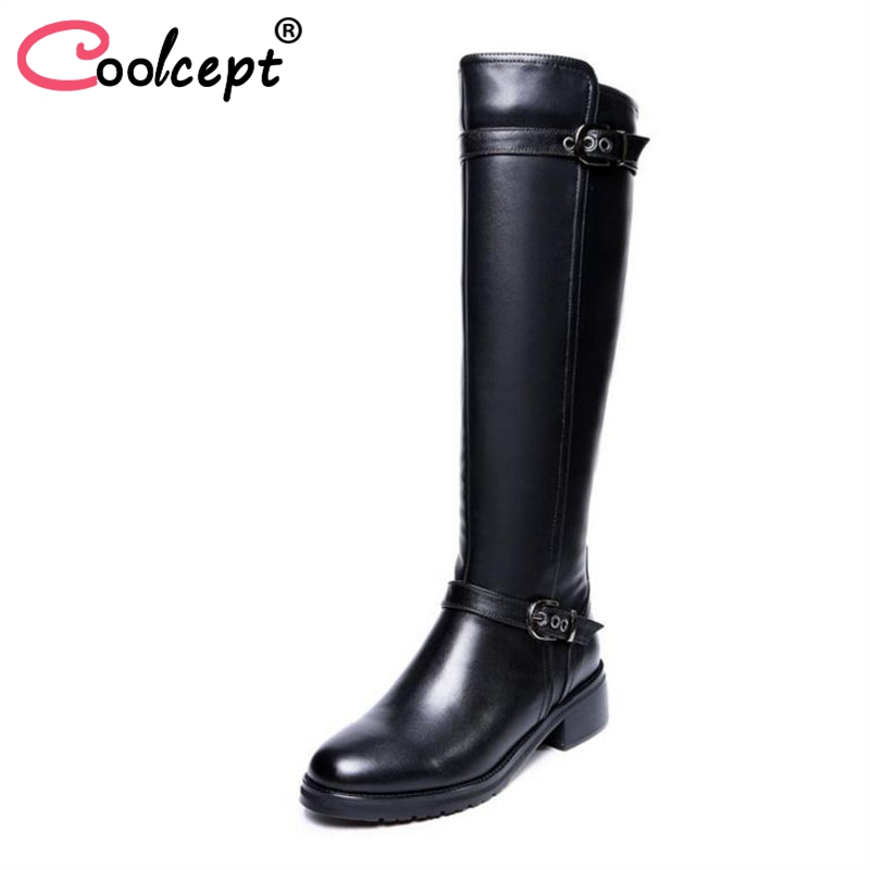 Coolcept Women Flats Boots Real Leather Women Winter Shoes Plush Fur Knee Boots Metal Buckle Fashion Ladies Shoes Size 33-43Coolcept Women Flats Boots Real Leather Women Winter Shoes Plush Fur Knee Boots Metal Buckle Fashion Ladies Shoes Size 33-43