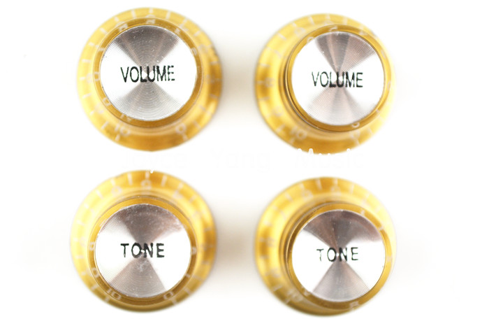 1 Set Of 4pcs Gold Silver Reflector Volume Tone Electric Guitar Knobs For LP SG Style Electric Guitar Free Shipping Wholesales