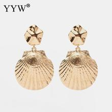 YYW Shell Earrings Women Gold Color Geometric Big Statement 2019 Earings Fashion Jewelry Vintage Boho Drop Dangling