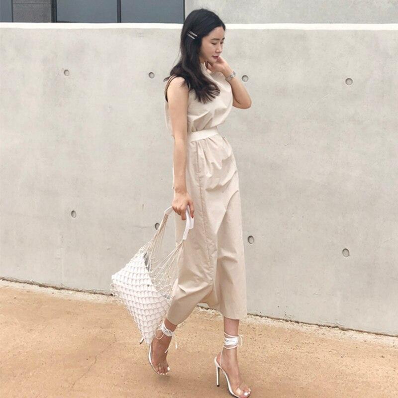 CHICEVER Summer Dresses For Women Sexy Slash Neck Hem Split Big Pocket Waist Lace Up Slim Dress Female Korean Fashion Tide New 2