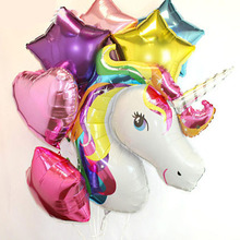 7pcs=1pcs Anagram Rainbow Unicorn helium Foil Balloons + 6pcs 18 inch star and heart balls theme party decor supplies baby toy