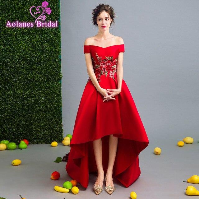 2f62145fc Vermelho Alta Baixa Satin Prom Vestidos Longos 2017 New Bordado Do Grânulo  oi Lo Vestido De