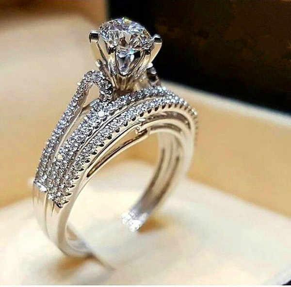 BoHo Wanita Crystal Putih Bulat Set Cincin Merek Mewah Janji 925 Perak Cincin Pertunangan Vintage untuk Pengantin Pernikahan