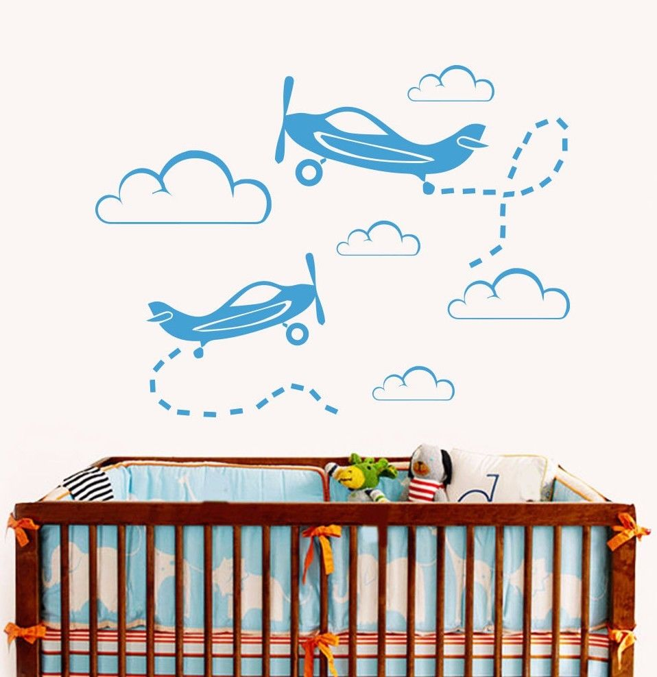 Baby boy room decor stickers - 2016 Top Search Plane Wall Decals Clouds Mural Suit Nursery Baby Boy Bedroom Decoration Vinyl Sticker