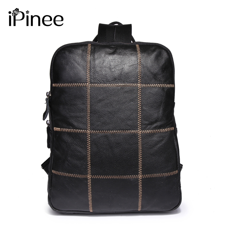 iPinee Fashion Genuine Leather Laptop Bag For Men Real Cowhide Travel Bag UNISEX Backpack School Bags