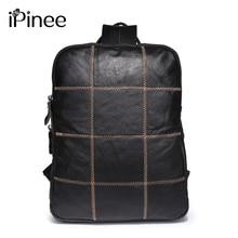 Ipinee модные натуральная кожа сумка для ноутбука для мужчин из натуральной коровьей кожи дорожная сумка унисекс рюкзак школьные сумки