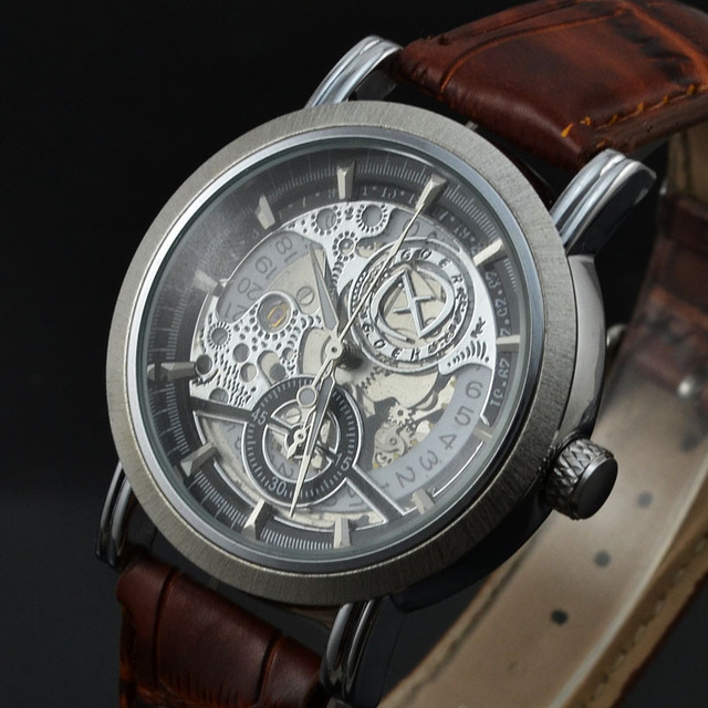 276387efa28 GOER Relogio Masculino Fashion Skeleton Automatic Mechanical Watch Men  Brand Mechanical Watches Leather Strap Casual Wristwatch