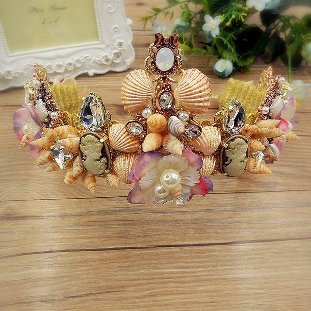 Crown Continental Barroco shell flor simulação noiva cocar acessórios vestido de noiva praia lua de mel 0945