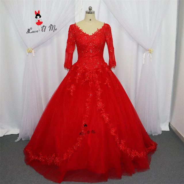 00db143a8 Vestidos de 15 Anos Red Cheap Quinceanera Gowns Debutante Gowns 3 4 Sleeves  Lace Plus Size Quinceanera Sweet 16 Dresses 2017