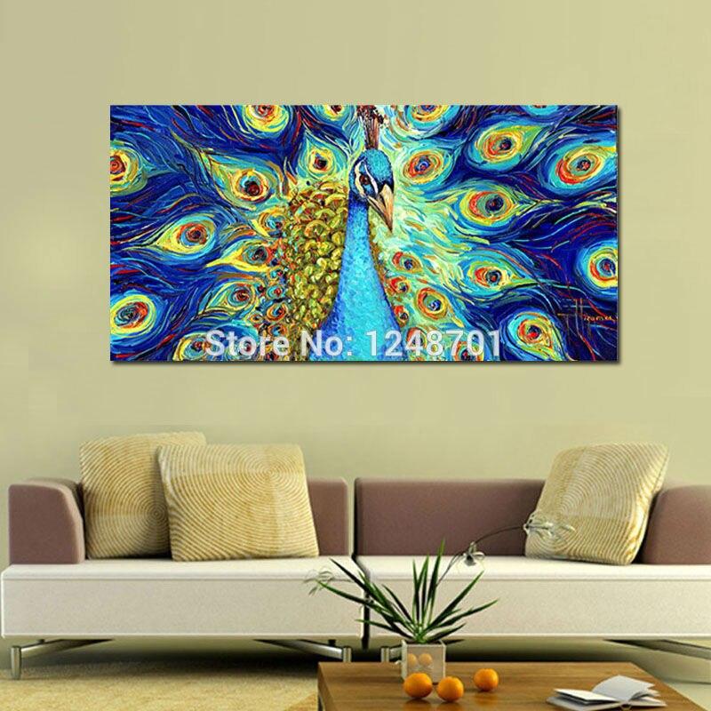 Handgeschilderd moderne animal canvas olieverf blauwe pauw dikke geweven kunst op canvas voor slaapkamer wanddecoratie - 2