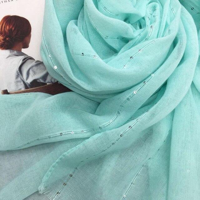 ファッション平野ソリッドグリッタースパークリングスパンコール女性スカーフ/スカーフきらめきヒジャーブショールイスラム教徒のヘッドスカーフラップ 10 ピース/ロットホット販売