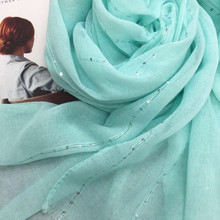 De moda llano brillo sólido brillante lentejuelas bufanda de las mujeres bufandas/brillo chales hiyab pañuelo de cabeza musulmán envuelve 10 unids/lote gran oferta