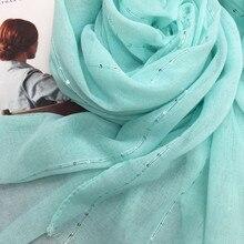 패션 일반 솔리드 반짝이 반짝 이는 스팽글 여성 스카프/스카프 쉬머 hijab shawls 이슬람 머리 스카프 10 개/몫 뜨거운 판매를 래핑