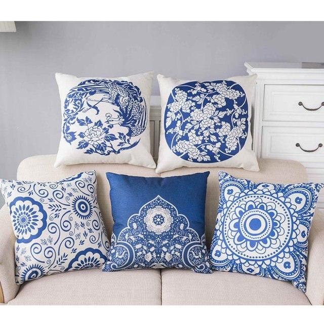 Us 4 73 5 Off Chinesische Blau Weiss Porzellan Kissenbezuge Ethnische Exotischen Blumen Muster Leinen Sofa Dekokissen Fall Sommer Atmungs Kissen In