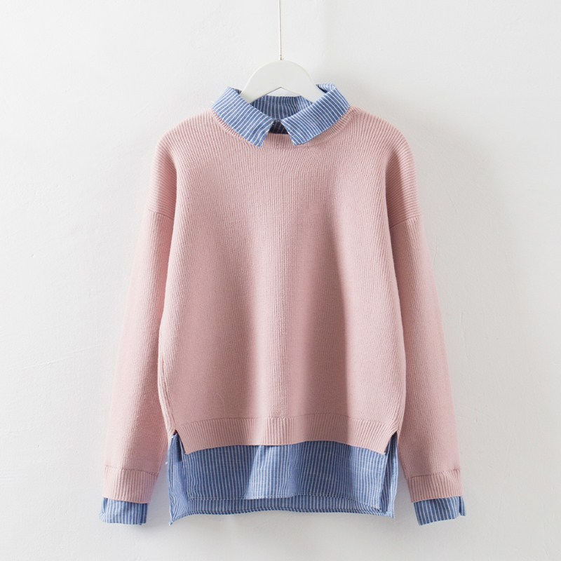 Rlyaeiz 2018 Spring Autumn Sweater Women Korean Casual Pure Color Fake Two Pieces Knitting Pullover Female Knitted Sweaters