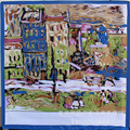 90*90 Весна Ван Гог красный дом моделирование шелковый шарф картина маслом большой площади шарф дамы шарфы