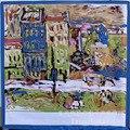 90*90 de Primavera Van Gogh rojo casa de simulación de pintura al óleo de la bufanda de seda cuadrado grande de la bufanda bufandas de las señoras