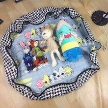 Portable Baby Kids Gym Play Mat Crawling Blanket Soft Cotton Toys Storage Bag Free shipping