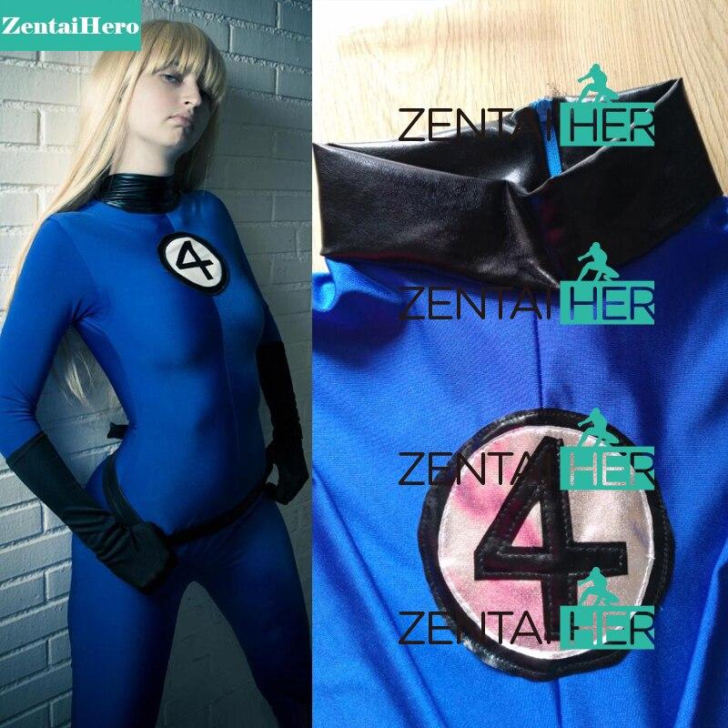 ZentaiHero Fantastic 4 Kostýmní neviditelná žena Sue Storm Superhero kostým Blue Spandex Zentai Kočky pro 2017 Halloween Party
