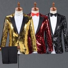 Traje adulto trajes para hombres rojo oro rojo con oro rojo lentejuelas  negro chaquetas pantalones de 5c739921066