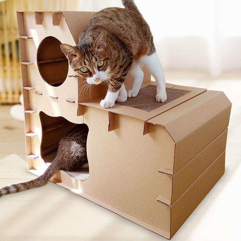 Petshy Pet Cat House Nest Double Layer Home Corrugated Paper Cats Scratch Board Detachable Kitten Playing Sleeping Bed Cave in Cat Beds Mats from Home Garden