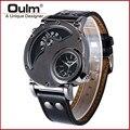 Mens Big Dial OULM Marca Homens Designer de Marca de Topo de Luxo dz Relógio de couro Relogio masculino Montre Homme Reloj Hombre Originais preto
