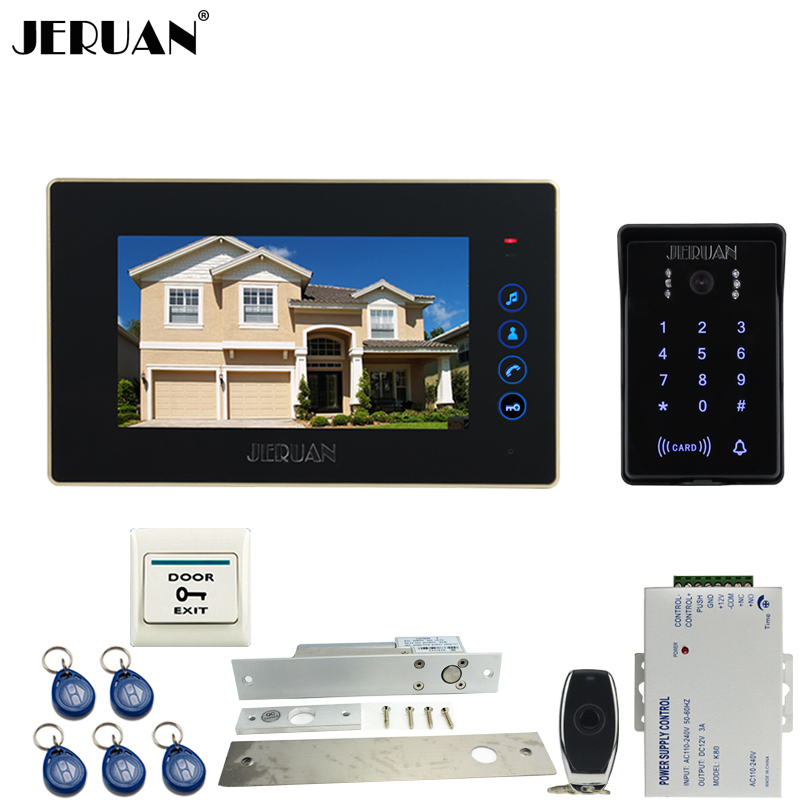 JERUAN Wired 7`` Touch key video doorphone intercom system kit waterproof touch key password keypad camera Electric mortise lock jeruan wired 7 touch key video doorphone intercom system kit waterproof touch key password keypad camera 180kg magnetic lock