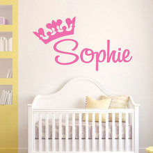 Cheap Sale Personalized Name Decal Princess Crown Custom Graphic, Girl Nursery Wall Decal, Room Vinyl Sticker Murals LW107