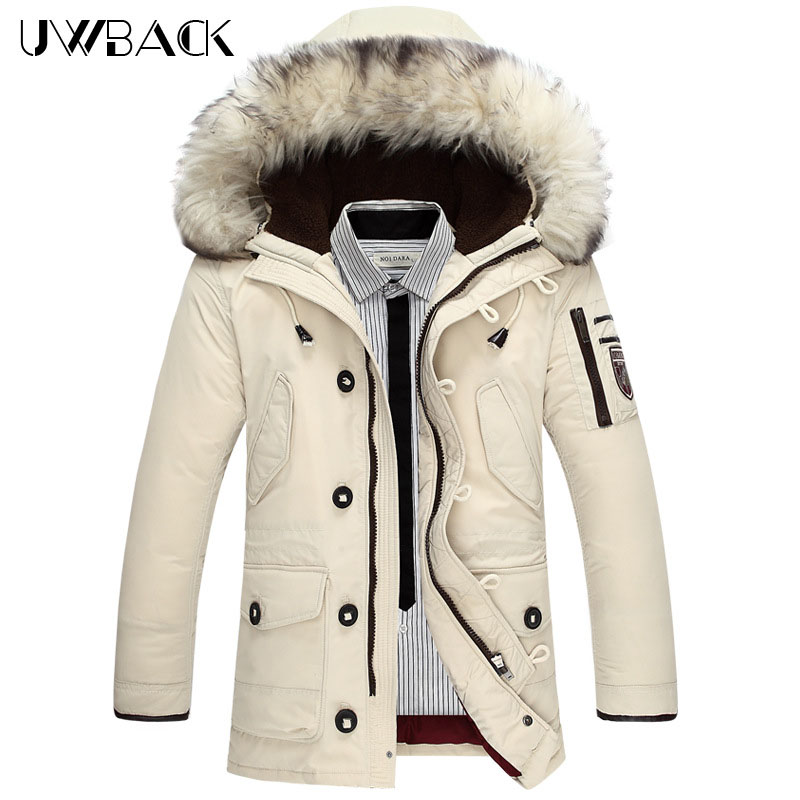 Uwback White Duck Down Jackets Men Fur Hooded Super Warm Winter Jackets Fashion Plus Size 4XL Outwear Coats Thick Parkas CAA223