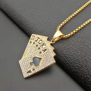 Image 5 - Hiphop Iced Out Playing Card Straight Flush Pendant With Stainless Steel Chain Mens Poker Necklace Golden Jewelry Dropshipping