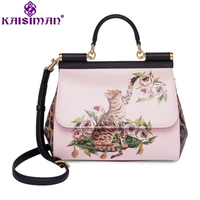 Luxury Italy Brand Sicily Fashion Cat Flowers Printed Genuine Leather Handbag Women Leopard Handbag Lady Messenger