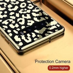 Image 5 - Coque OTAO en verre plaqué léopard pour Samsung Galaxy S9 S10 Plus S10e Coque rigide pour Samsung Note 9 Coque souple en ptu