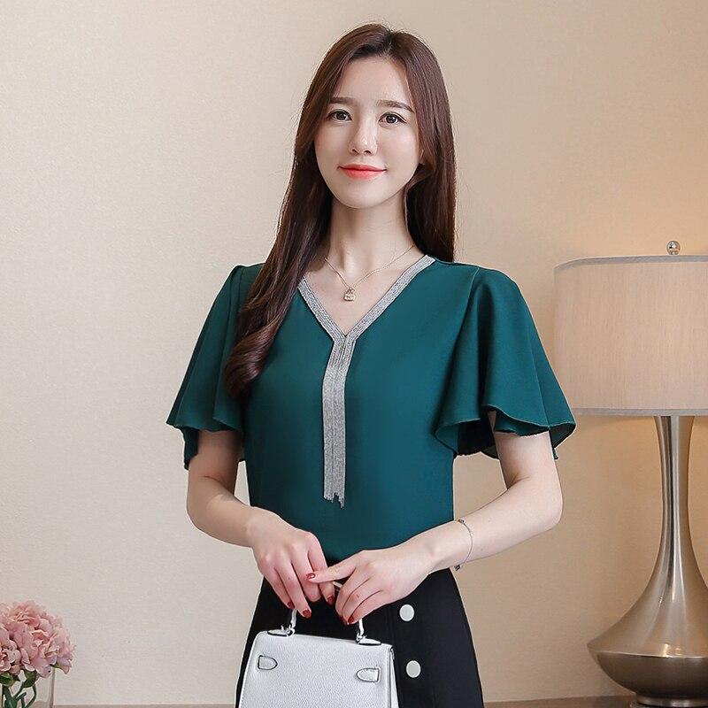 Women Blouse Shirts Summer Chiffon Shirts Tops Female Fashion Korean Office Lady Shirts Elegant Women Plus Size Blouse Tops XXXL