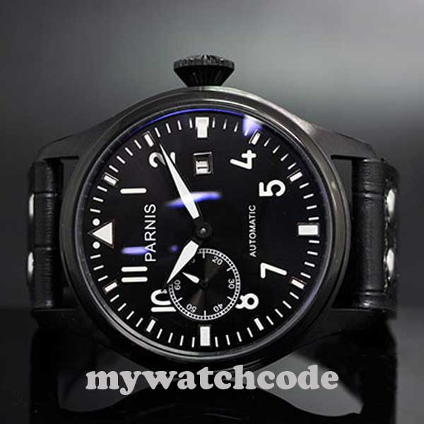 47mm parnis black dial luminous marks PVD case date automatic mens watch P211 цена и фото