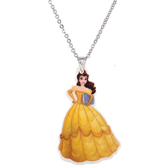 3069290cb424 COLLAR COLGANTE de princesa de plástico grande para niñas Cadena de plata  dibujos animados plano de