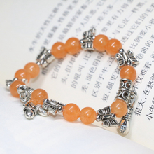 High grade orange chalcedony jade round beads strand bracelets for women Tibet silver-plated spacer jewelry making 7.5inch B2061