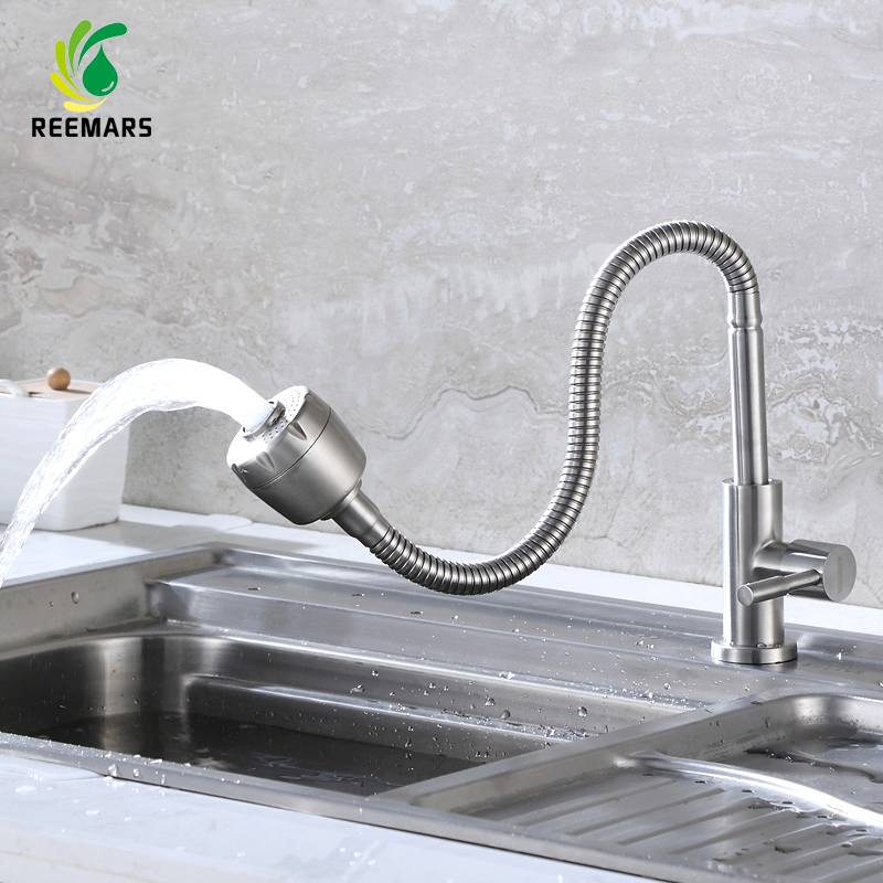 Genuine REEMARS Brass Kitchen faucet Mixer Cold and Hot Kitchen Tap Single Hole Water Tap torneira