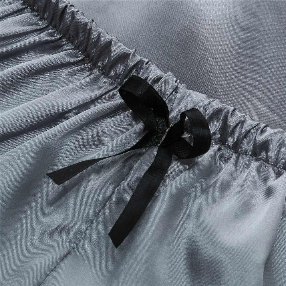 女性のパジャマセクシーなサテンセット黒レース V ネックパジャマノースリーブかわいいキャミトップとショーツスパースター mujer algodon veran