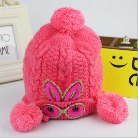 Newborn baby caps imitation cashmere rabbit ball warm children kids hat autumn winter infant caps