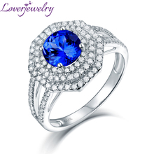 LOVERJEWELRY Women Vintage Rings Round 7mm 14kt White Gold Natural Diamond Tanzanite Ring Fine Jewelry For Wife Anniversary Gift